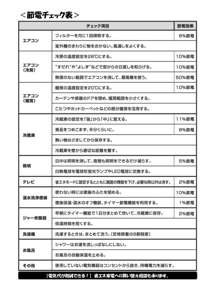 節電チェック表